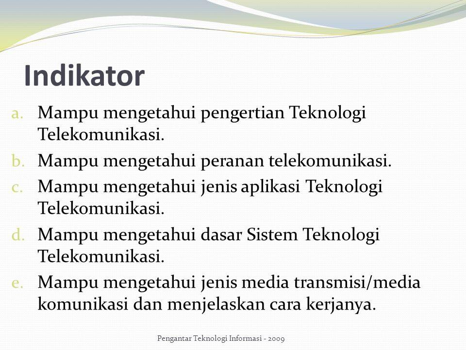Indikator a. Mampu mengetahui pengertian Teknologi Telekomunikasi. b. Mampu mengetahui peranan telekomunikasi. c. Mampu mengetahui jenis aplikasi Tekn