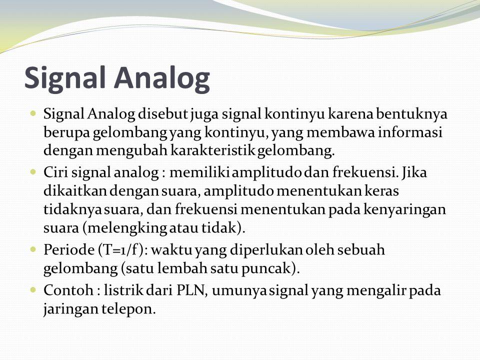 Signal Analog Signal Analog disebut juga signal kontinyu karena bentuknya berupa gelombang yang kontinyu, yang membawa informasi dengan mengubah karak