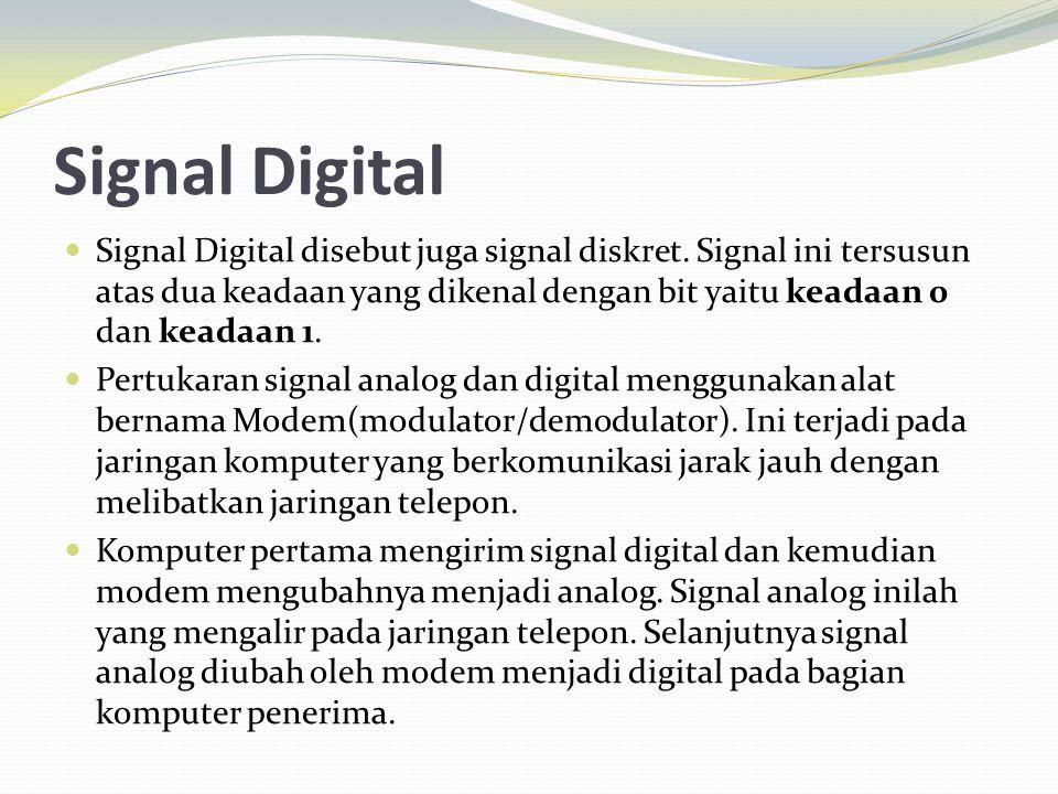 Signal Digital Signal Digital disebut juga signal diskret. Signal ini tersusun atas dua keadaan yang dikenal dengan bit yaitu keadaan 0 dan keadaan 1.