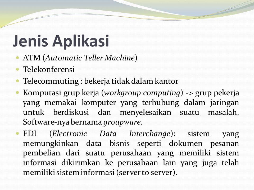 Jenis Aplikasi ATM (Automatic Teller Machine) Telekonferensi Telecommuting : bekerja tidak dalam kantor Komputasi grup kerja (workgroup computing) ->