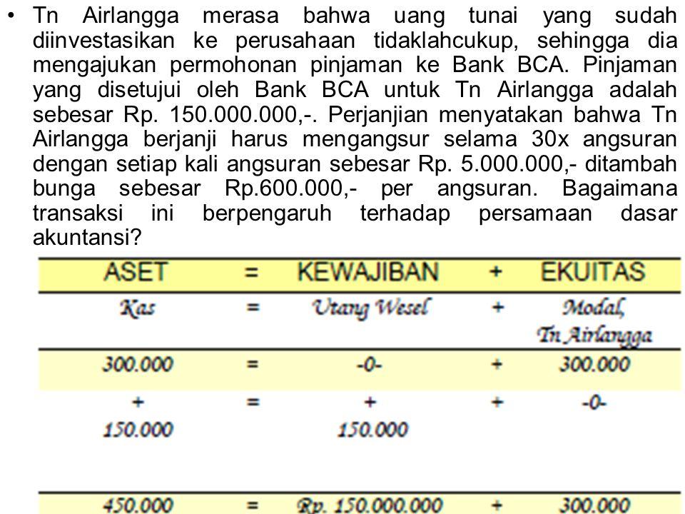 Tn Airlangga merasa bahwa uang tunai yang sudah diinvestasikan ke perusahaan tidaklahcukup, sehingga dia mengajukan permohonan pinjaman ke Bank BCA. P
