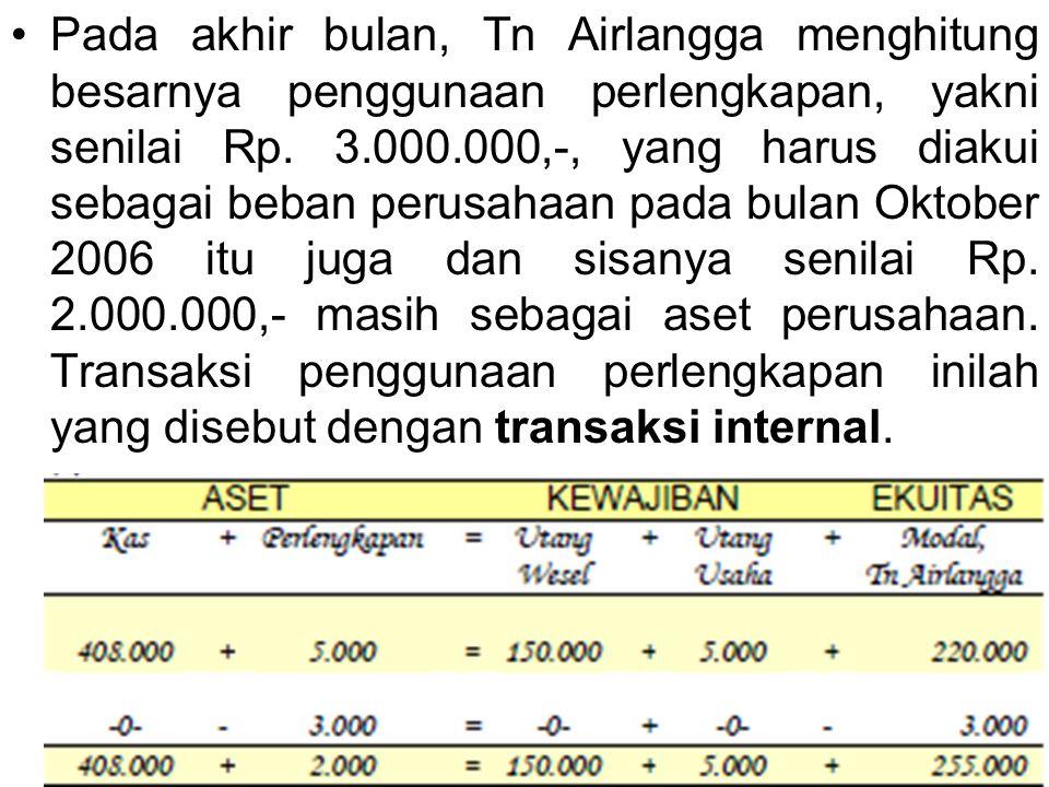 Pada akhir bulan, Tn Airlangga menghitung besarnya penggunaan perlengkapan, yakni senilai Rp. 3.000.000,-, yang harus diakui sebagai beban perusahaan