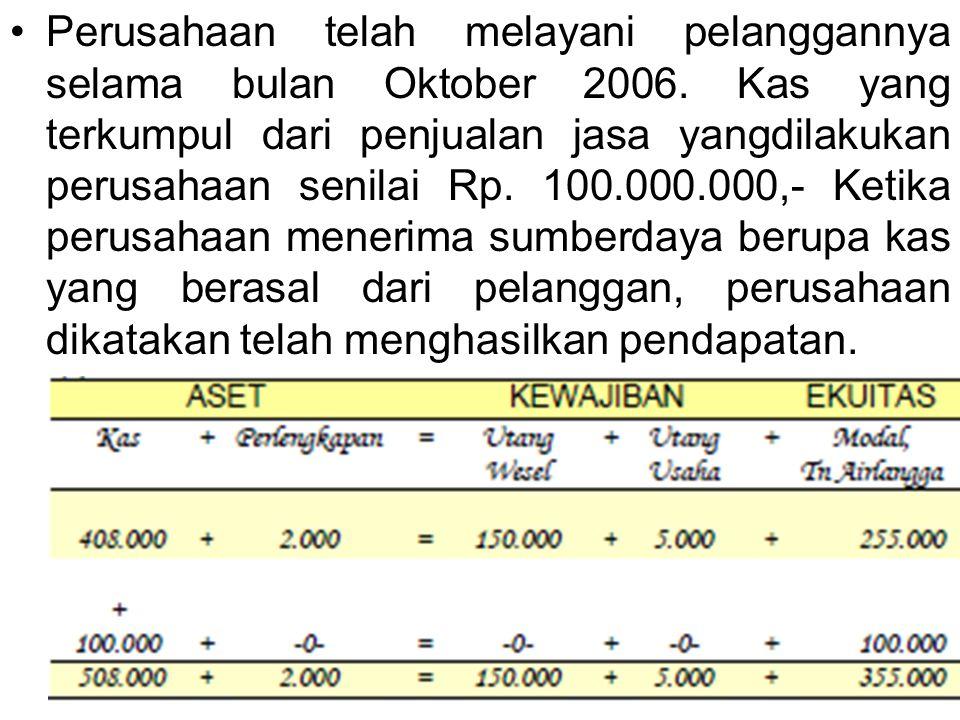 Perusahaan telah melayani pelanggannya selama bulan Oktober 2006. Kas yang terkumpul dari penjualan jasa yangdilakukan perusahaan senilai Rp. 100.000.