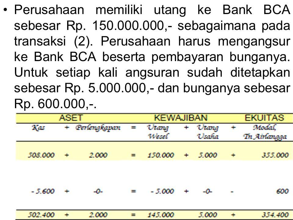 Perusahaan memiliki utang ke Bank BCA sebesar Rp. 150.000.000,- sebagaimana pada transaksi (2). Perusahaan harus mengangsur ke Bank BCA beserta pembay