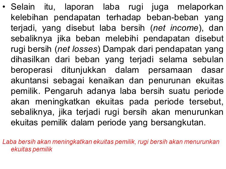 Selain itu, laporan laba rugi juga melaporkan kelebihan pendapatan terhadap beban-beban yang terjadi, yang disebut laba bersih (net income), dan sebal