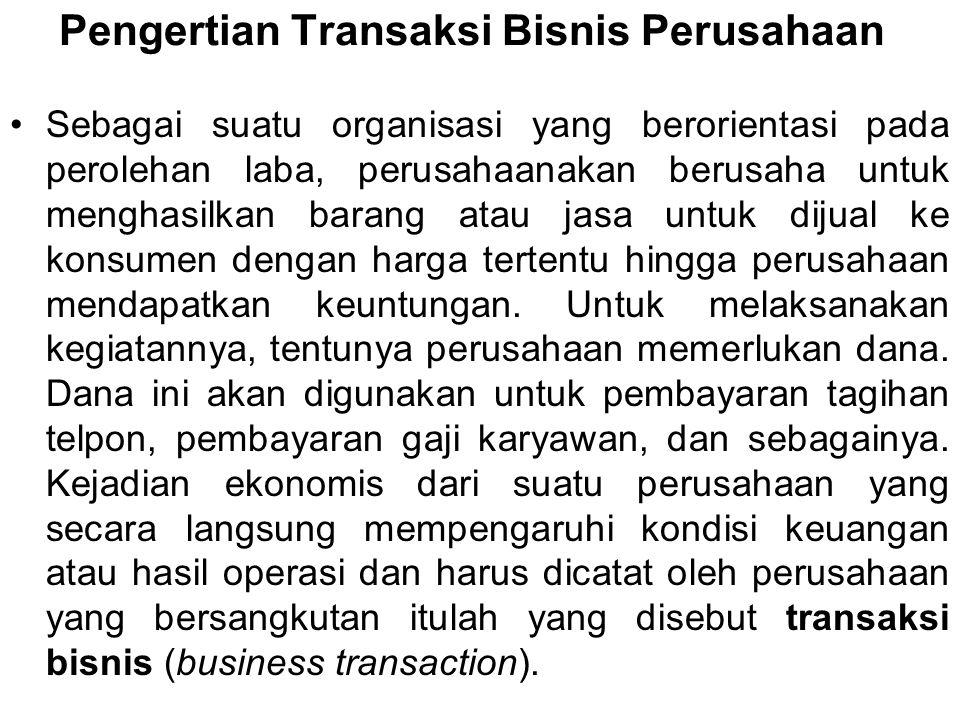 Pengertian Transaksi Bisnis Perusahaan Sebagai suatu organisasi yang berorientasi pada perolehan laba, perusahaanakan berusaha untuk menghasilkan bara
