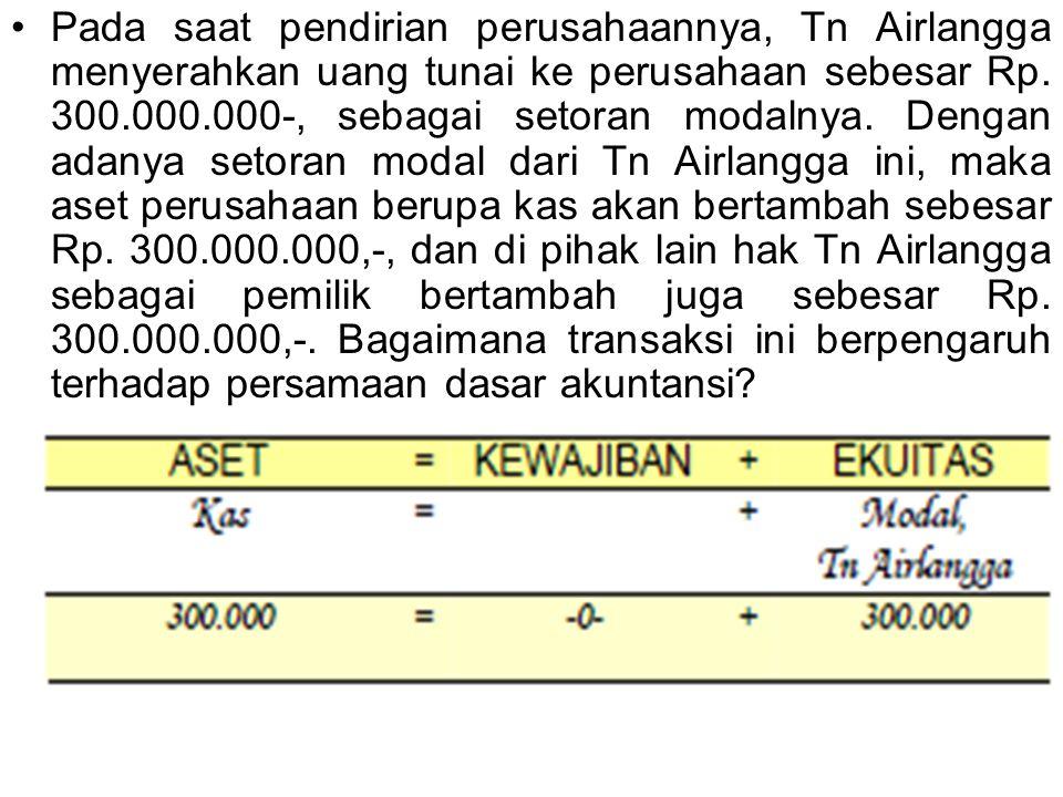 Pada saat pendirian perusahaannya, Tn Airlangga menyerahkan uang tunai ke perusahaan sebesar Rp. 300.000.000-, sebagai setoran modalnya. Dengan adanya