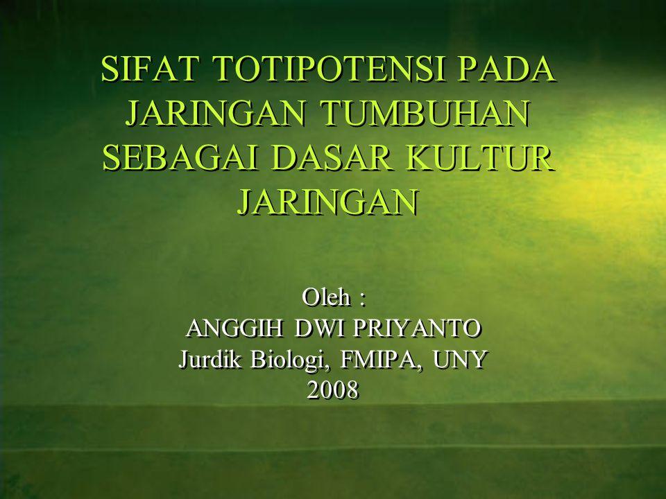 SIFAT TOTIPOTENSI PADA JARINGAN TUMBUHAN SEBAGAI DASAR KULTUR JARINGAN Oleh : ANGGIH DWI PRIYANTO Jurdik Biologi, FMIPA, UNY 2008 Oleh : ANGGIH DWI PR