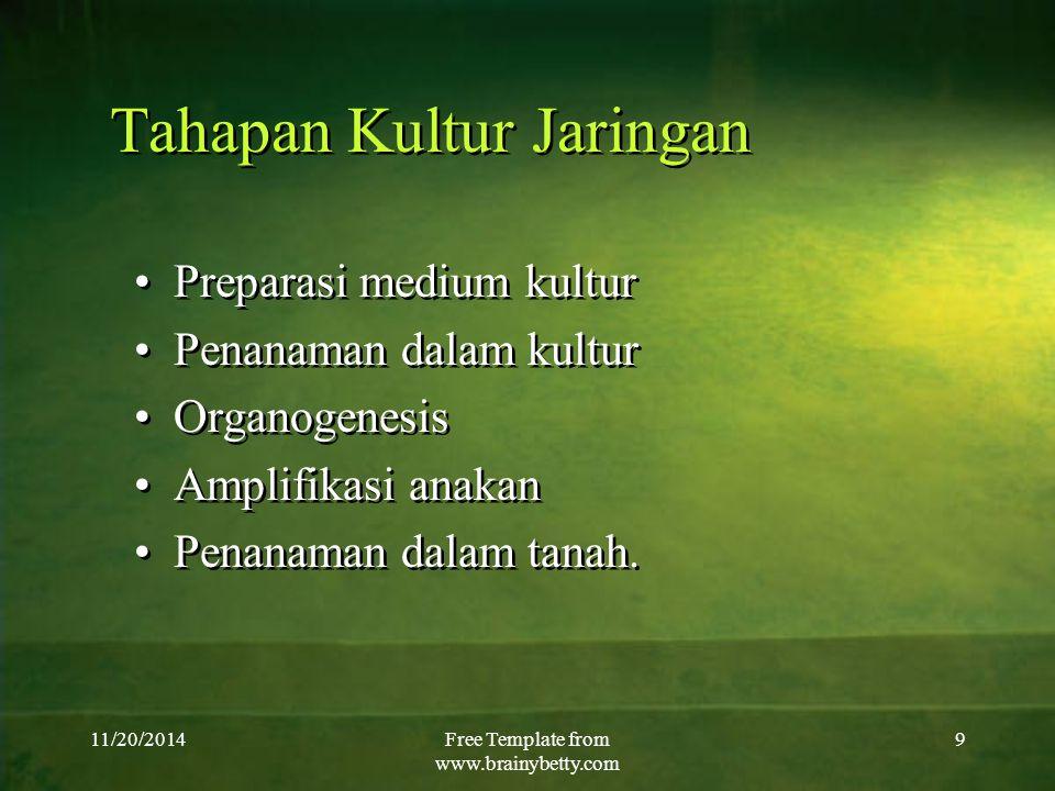 11/20/2014Free Template from www.brainybetty.com 9 Tahapan Kultur Jaringan Preparasi medium kultur Penanaman dalam kultur Organogenesis Amplifikasi an