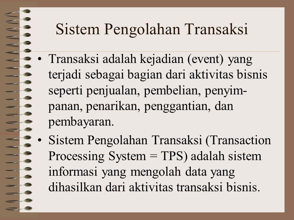 Sistem Pengolahan Transaksi Transaksi adalah kejadian (event) yang terjadi sebagai bagian dari aktivitas bisnis seperti penjualan, pembelian, penyim- panan, penarikan, penggantian, dan pembayaran.