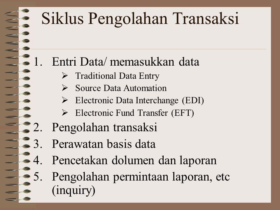 Siklus Pengolahan Transaksi 1.Entri Data/ memasukkan data  Traditional Data Entry  Source Data Automation  Electronic Data Interchange (EDI)  Elec