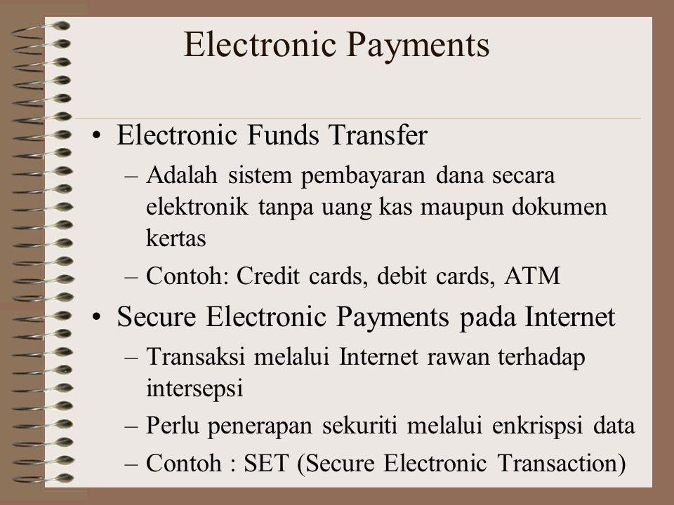 Electronic Payments Electronic Funds Transfer –Adalah sistem pembayaran dana secara elektronik tanpa uang kas maupun dokumen kertas –Contoh: Credit ca