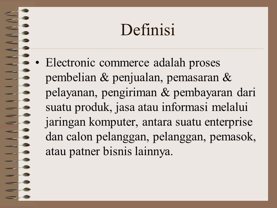 Definisi Electronic commerce adalah proses pembelian & penjualan, pemasaran & pelayanan, pengiriman & pembayaran dari suatu produk, jasa atau informas