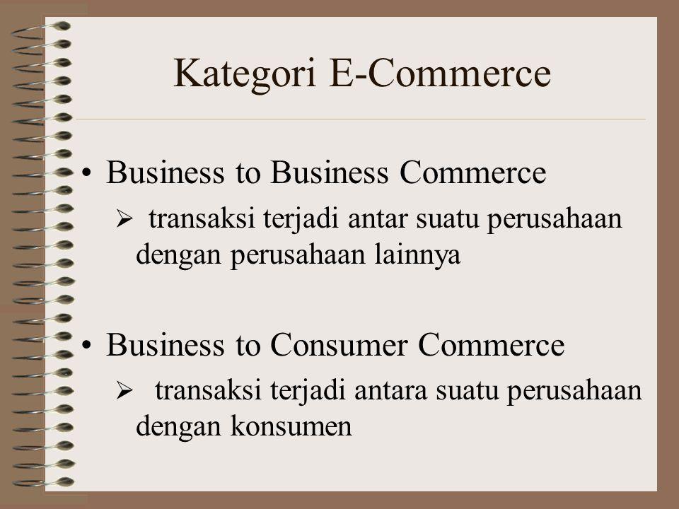 Kategori E-Commerce Business to Business Commerce  transaksi terjadi antar suatu perusahaan dengan perusahaan lainnya Business to Consumer Commerce  transaksi terjadi antara suatu perusahaan dengan konsumen