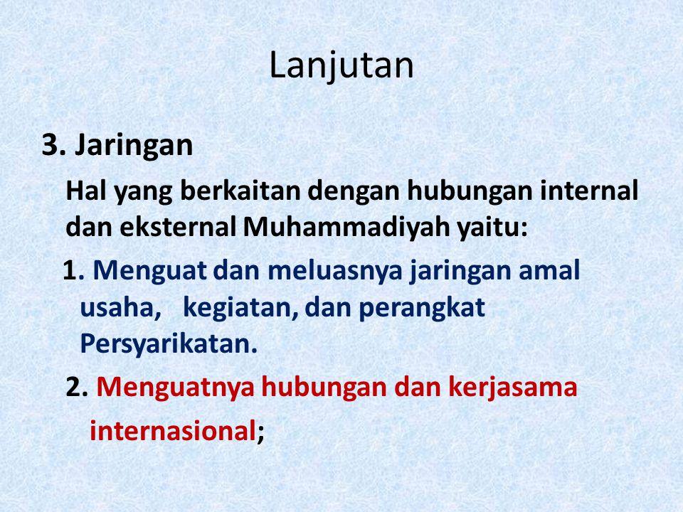 Lanjutan 3. Jaringan Hal yang berkaitan dengan hubungan internal dan eksternal Muhammadiyah yaitu: 1. Menguat dan meluasnya jaringan amal usaha, kegia
