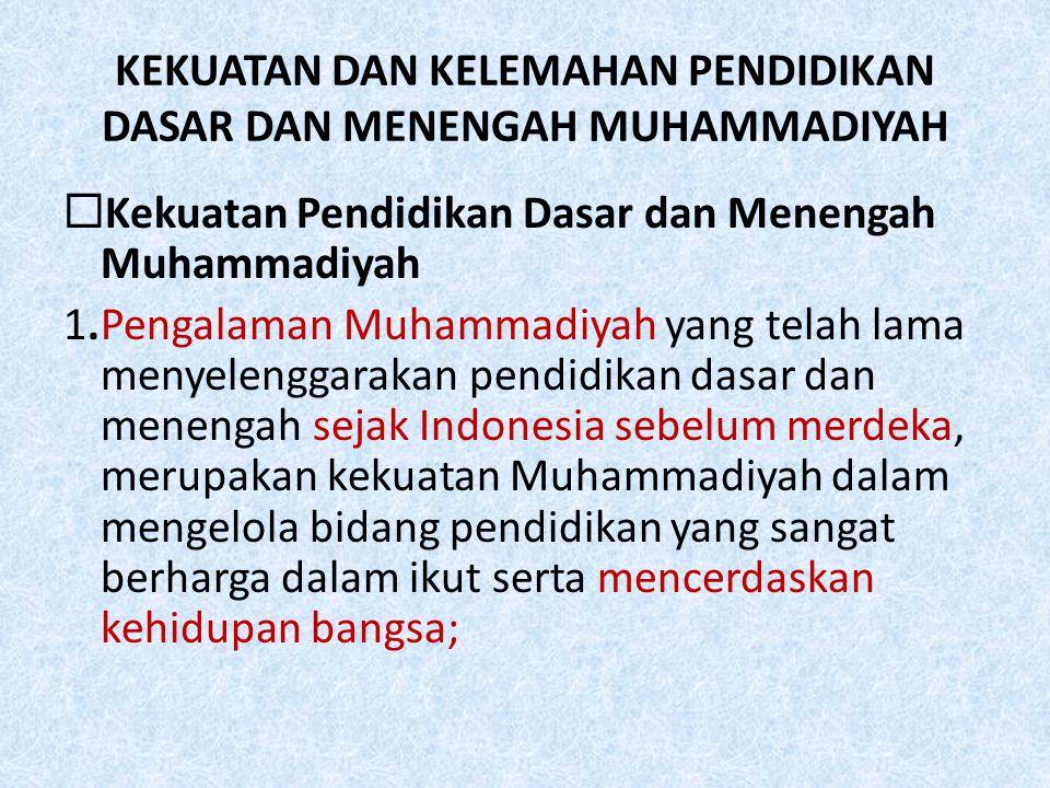 KEKUATAN DAN KELEMAHAN PENDIDIKAN DASAR DAN MENENGAH MUHAMMADIYAH  Kekuatan Pendidikan Dasar dan Menengah Muhammadiyah 1.Pengalaman Muhammadiyah yang