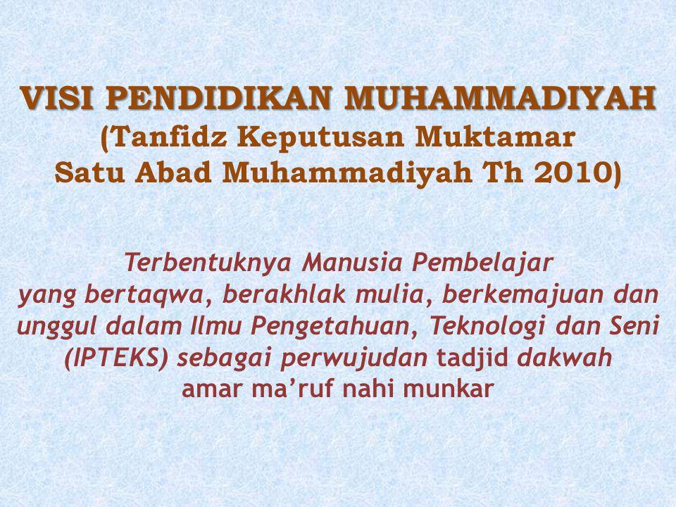 VISI PENDIDIKAN MUHAMMADIYAH (Tanfidz Keputusan Muktamar Satu Abad Muhammadiyah Th 2010) Terbentuknya Manusia Pembelajar yang bertaqwa, berakhlak muli