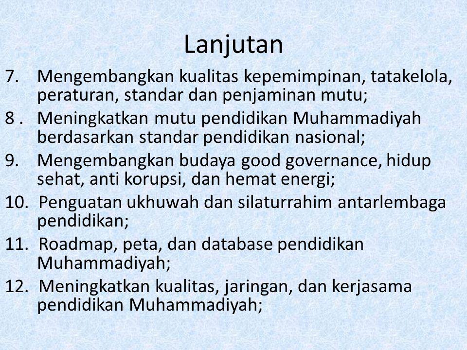 Lanjutan 7. Mengembangkan kualitas kepemimpinan, tatakelola, peraturan, standar dan penjaminan mutu; 8. Meningkatkan mutu pendidikan Muhammadiyah berd