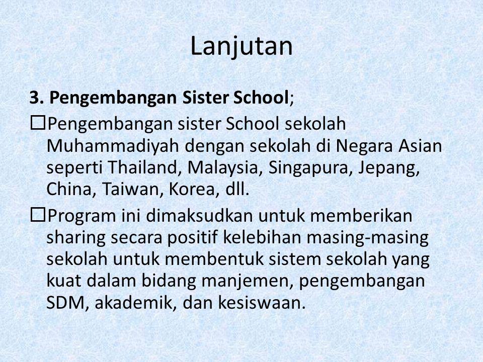 Lanjutan 3. Pengembangan Sister School;  Pengembangan sister School sekolah Muhammadiyah dengan sekolah di Negara Asian seperti Thailand, Malaysia, S