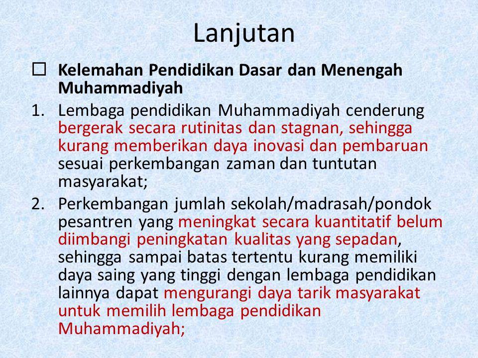 Lanjutan  Kelemahan Pendidikan Dasar dan Menengah Muhammadiyah 1.Lembaga pendidikan Muhammadiyah cenderung bergerak secara rutinitas dan stagnan, seh