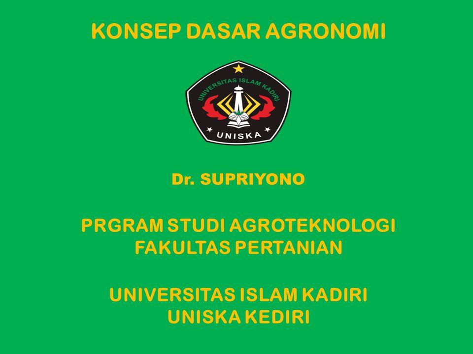 PENGERTIAN AGRONOMI Agronomi adalah ilmu yang mempelajari cara pengelolaan tanaman pertanian dan lingkungannya untuk memperoleh produksi maksimum dan lestari (berkelanjutan) A gros : Lahan/pertanian Nomos : Pengelolaan Agronomi