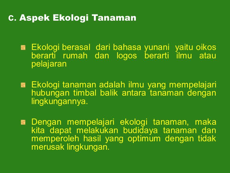 Ekologi berasal dari bahasa yunani yaitu oikos berarti rumah dan logos berarti ilmu atau pelajaran Ekologi tanaman adalah ilmu yang mempelajari hubung