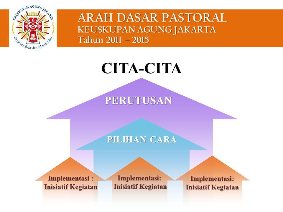 ARAH DASAR PASTORAL KEUSKUPAN AGUNG JAKARTA Tahun 2011 – 2015 PILIHAN CARA PERUTUSAN Implementasi: Inisiatif Kegiatan Implementasi: Inisiatif Kegiatan