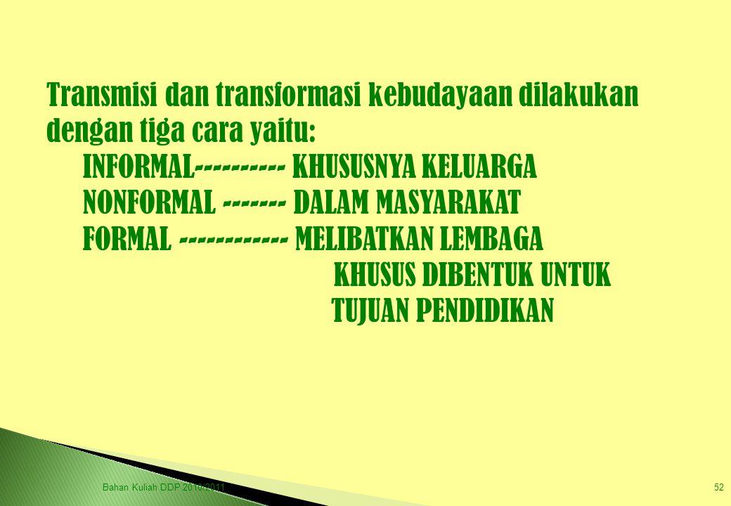 Transmisi dan transformasi kebudayaan dilakukan dengan tiga cara yaitu: INFORMAL---------- KHUSUSNYA KELUARGA NONFORMAL ------- DALAM MASYARAKAT FORMA