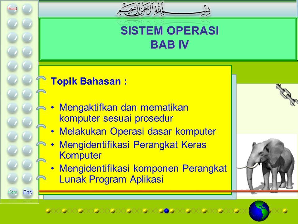 SISTEM OPERASI BAB IV Topik Bahasan : Mengaktifkan dan mematikan komputer sesuai prosedur Melakukan Operasi dasar komputer Mengidentifikasi Perangkat