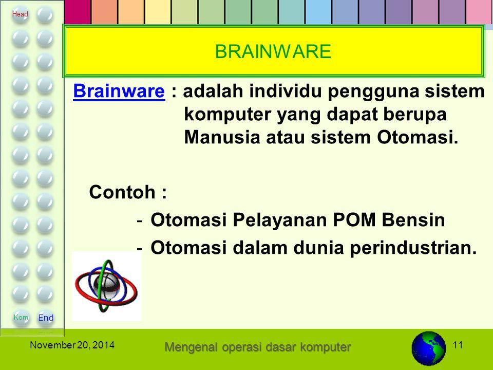 11November 20, 2014 BRAINWARE Brainware : adalah individu pengguna sistem komputer yang dapat berupa Manusia atau sistem Otomasi. Contoh : -O-Otomasi