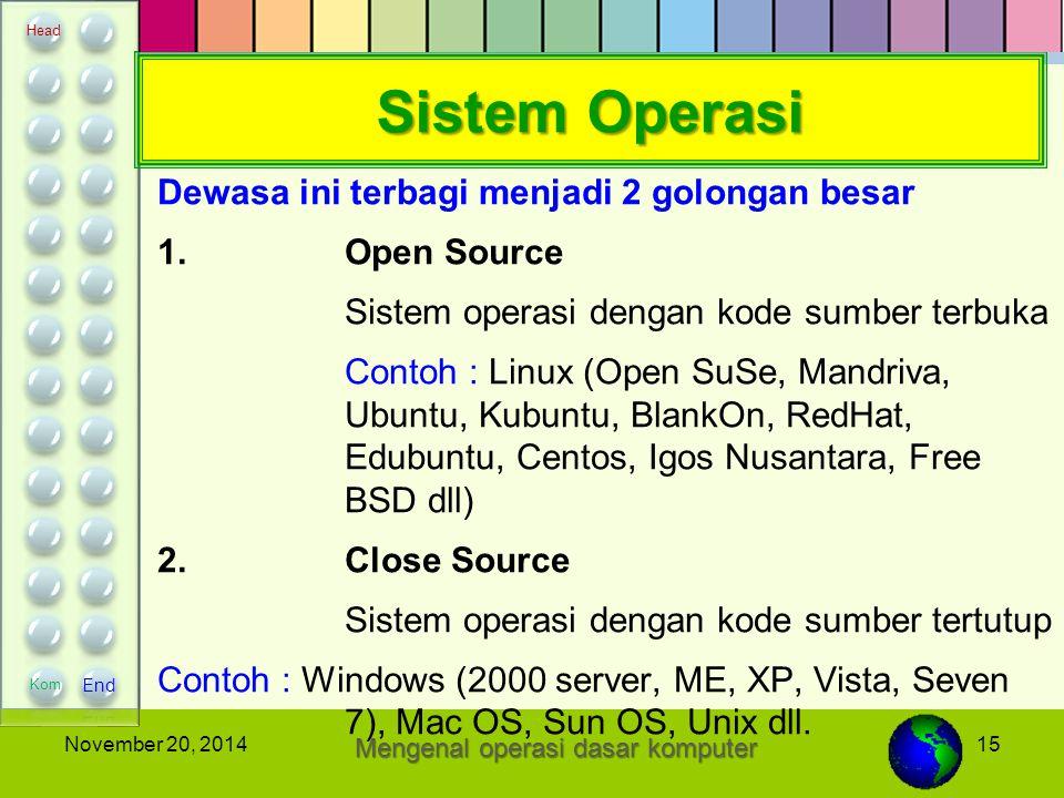 15November 20, 2014 Sistem Operasi Dewasa ini terbagi menjadi 2 golongan besar 1.Open Source Sistem operasi dengan kode sumber terbuka Contoh : Linux