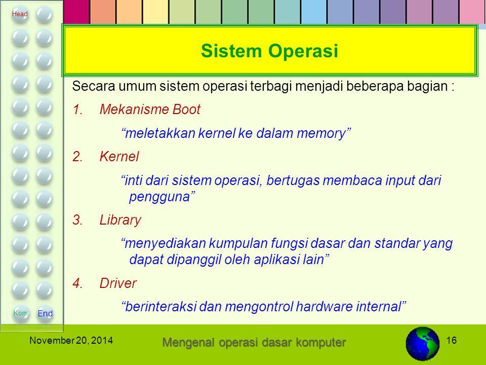 """16November 20, 2014 Sistem Operasi Secara umum sistem operasi terbagi menjadi beberapa bagian : 1.Mekanisme Boot """"meletakkan kernel ke dalam memory"""" 2"""