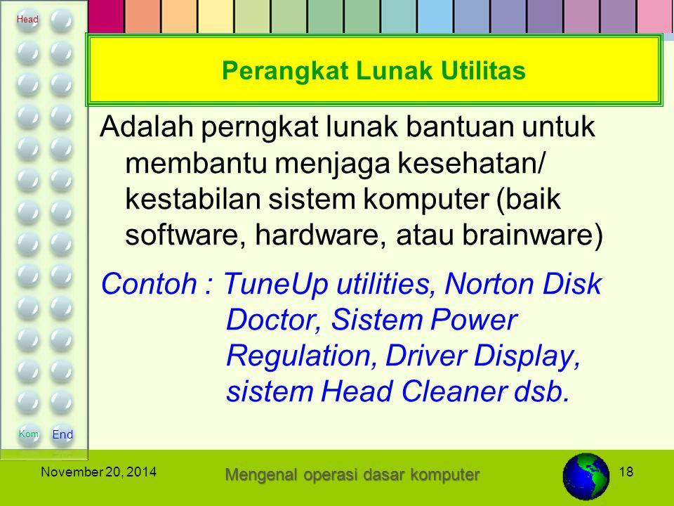 18November 20, 2014 Perangkat Lunak Utilitas Adalah perngkat lunak bantuan untuk membantu menjaga kesehatan/ kestabilan sistem komputer (baik software