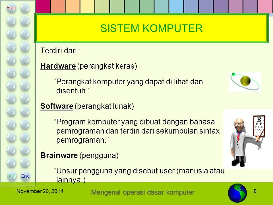 """8November 20, 2014 SISTEM KOMPUTER Terdiri dari : Hardware (perangkat keras) """"Perangkat komputer yang dapat di lihat dan disentuh."""" Software (perangka"""