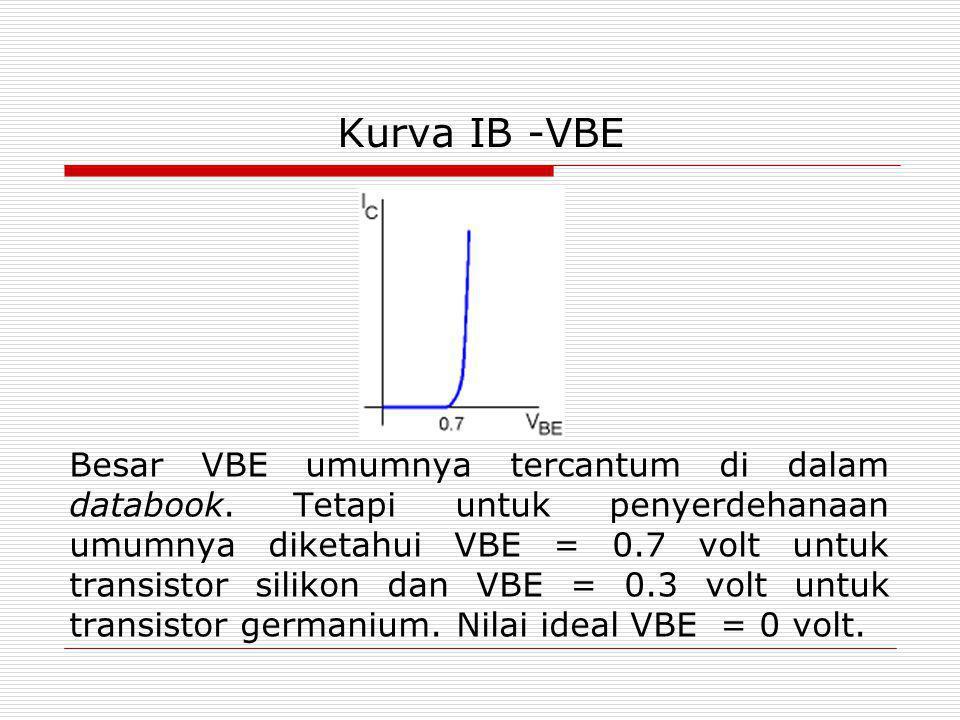 Kurva IB -VBE Besar VBE umumnya tercantum di dalam databook. Tetapi untuk penyerdehanaan umumnya diketahui VBE = 0.7 volt untuk transistor silikon dan