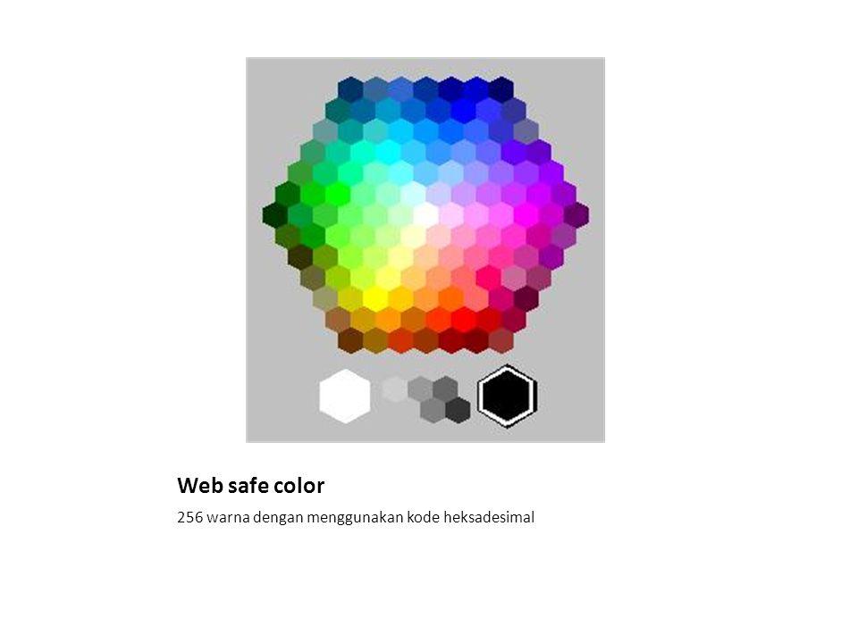 Web safe color 256 warna dengan menggunakan kode heksadesimal