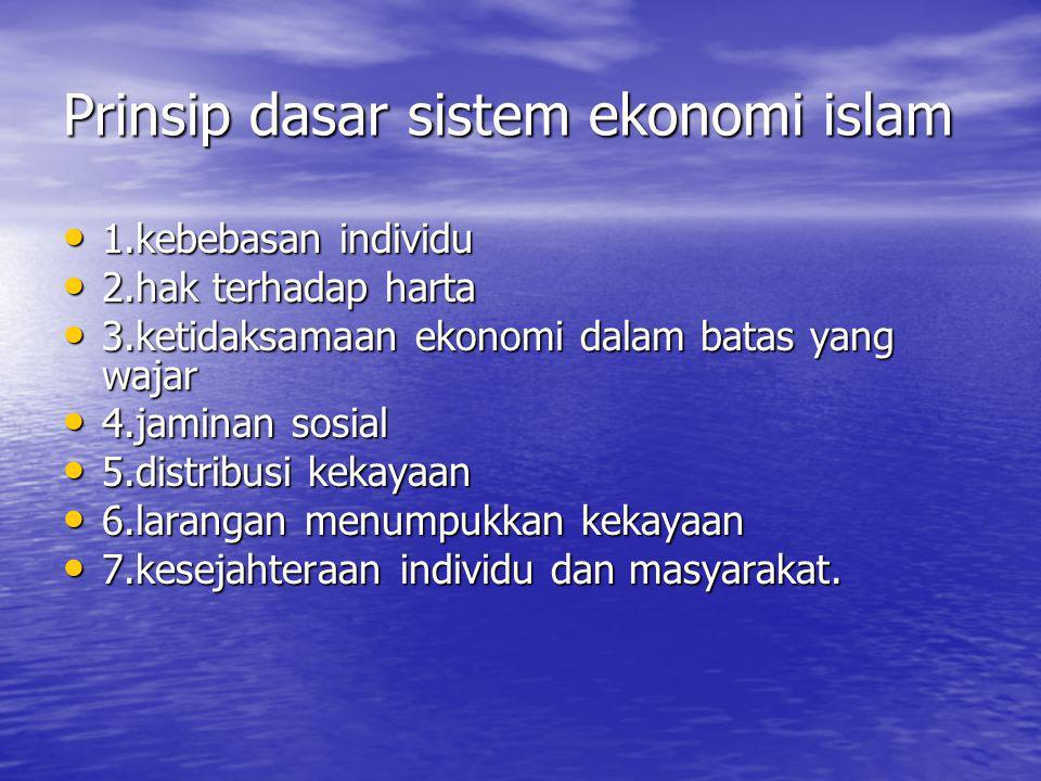 Prinsip dasar sistem ekonomi islam 1.kebebasan individu 1.kebebasan individu 2.hak terhadap harta 2.hak terhadap harta 3.ketidaksamaan ekonomi dalam b