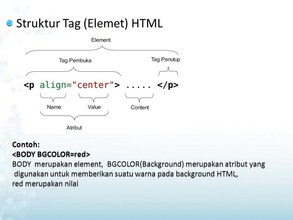 Struktur Tag (Elemet) HTML Contoh: BODY merupakan element, BGCOLOR(Background) merupakan atribut yang digunakan untuk memberikan suatu warna pada back