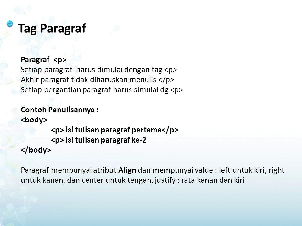 Tag Paragraf Paragraf Setiap paragraf harus dimulai dengan tag Akhir paragraf tidak diharuskan menulis Setiap pergantian paragraf harus simulai dg Con