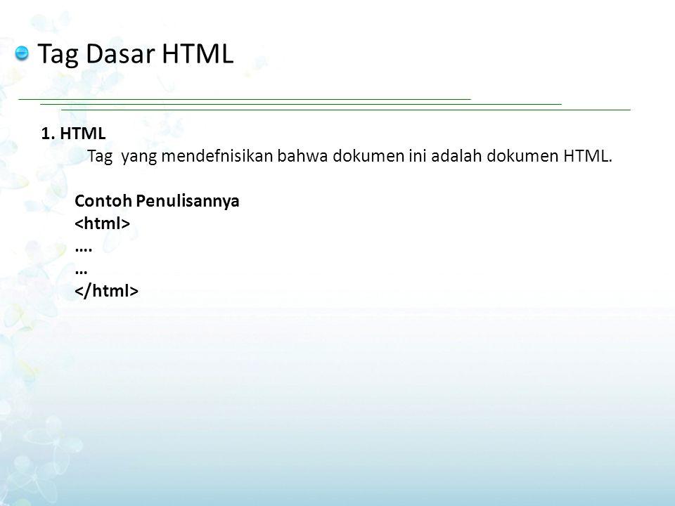 Tag Dasar HTML 1. HTML Tag yang mendefnisikan bahwa dokumen ini adalah dokumen HTML. Contoh Penulisannya …. …