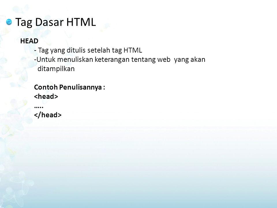 Tag Dasar HTML  TITLE Merupakan tag dalam head yang harus dituliskan untuk memberikan judul/informasi pada caption browser web Tentang topik/judul dari dokumen web yg ditampilkan dalam browser Contoh penulisannya : Judul…..