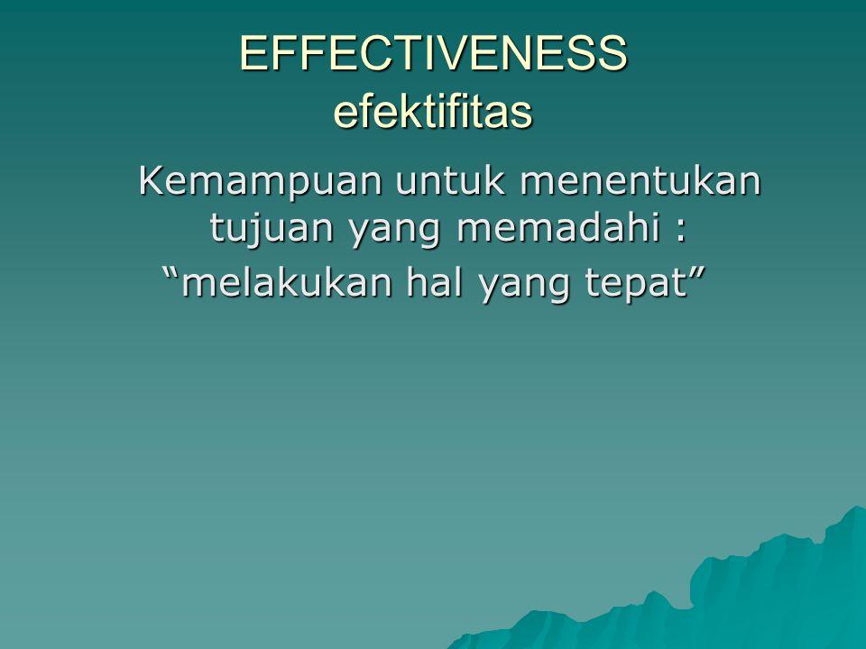 """EFFECTIVENESS efektifitas Kemampuan untuk menentukan tujuan yang memadahi : """"melakukan hal yang tepat"""""""