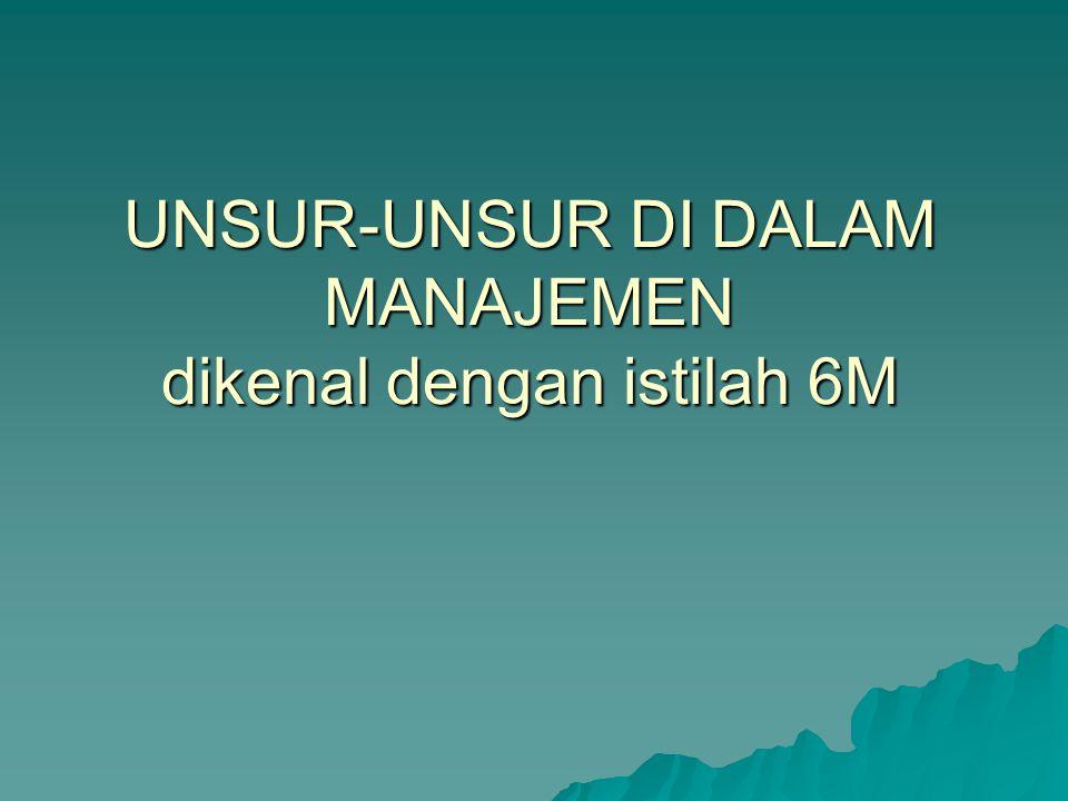 UNSUR-UNSUR DI DALAM MANAJEMEN dikenal dengan istilah 6M