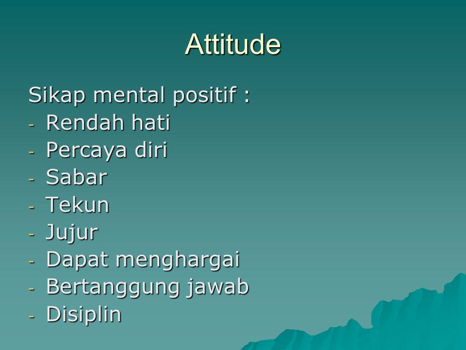 Attitude Sikap mental positif : - Rendah hati - Percaya diri - Sabar - Tekun - Jujur - Dapat menghargai - Bertanggung jawab - Disiplin