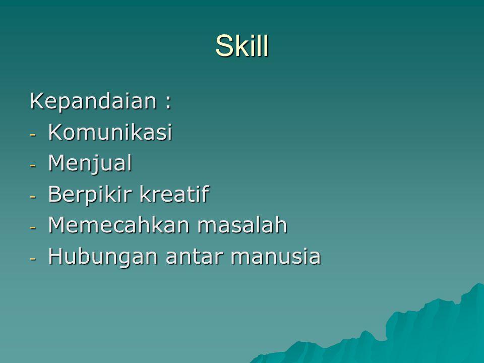 Skill Kepandaian : - Komunikasi - Menjual - Berpikir kreatif - Memecahkan masalah - Hubungan antar manusia