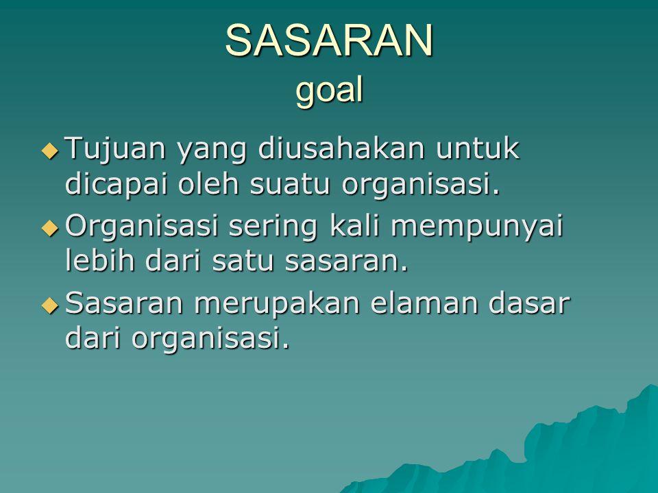 SASARAN goal  Tujuan yang diusahakan untuk dicapai oleh suatu organisasi.  Organisasi sering kali mempunyai lebih dari satu sasaran.  Sasaran merup