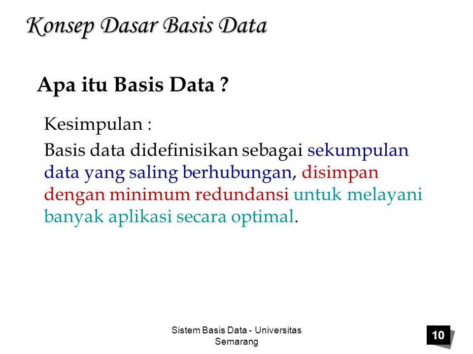 Sistem Basis Data - Universitas Semarang 10 Konsep Dasar Basis Data Kesimpulan : Basis data didefinisikan sebagai sekumpulan data yang saling berhubun