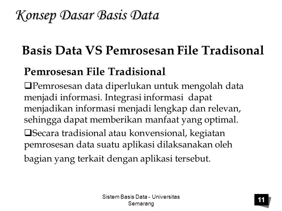 Sistem Basis Data - Universitas Semarang 11 Konsep Dasar Basis Data Pemrosesan File Tradisional  Pemrosesan data diperlukan untuk mengolah data menja