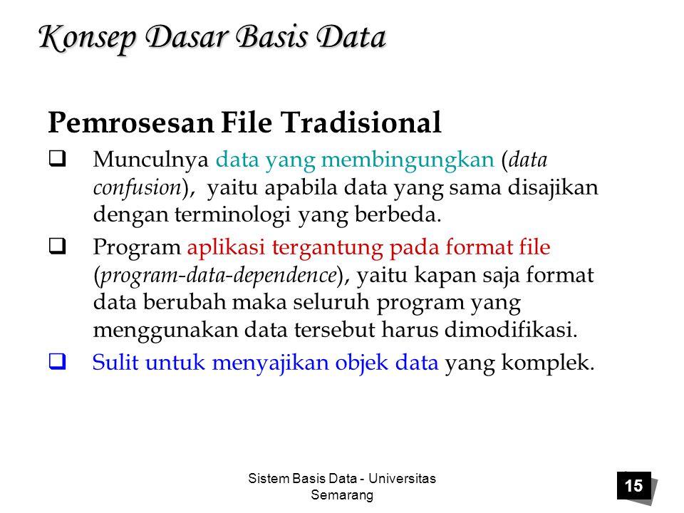 Sistem Basis Data - Universitas Semarang 15 Konsep Dasar Basis Data Pemrosesan File Tradisional  Munculnya data yang membingungkan ( data confusion )