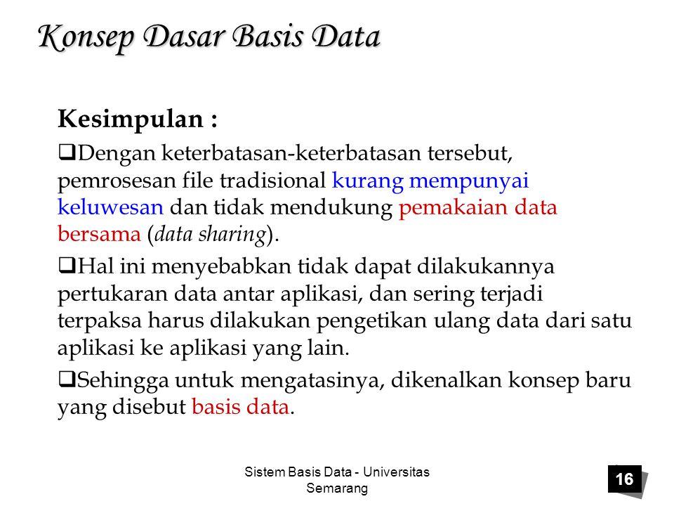 Sistem Basis Data - Universitas Semarang 16 Konsep Dasar Basis Data Kesimpulan :  Dengan keterbatasan-keterbatasan tersebut, pemrosesan file tradisio